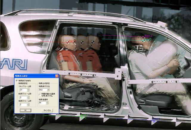 フレーム間で移動する車体の位置合わせ後にフレームを多重表示した例 協力:(財)日本自動車研究所 殿