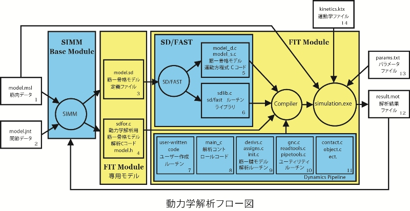 SIMMの動力学解析フロー図