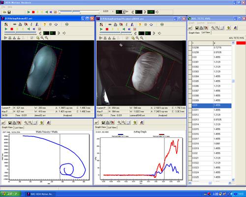 エアバッグ展開試験の解析画面