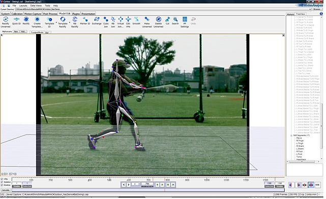 キャプチャーデータとビデオカメラ撮影画像の合成・同期再生の例